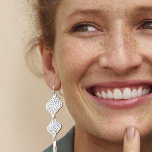 Stella & Dot Plait Silver Earrings NEW
